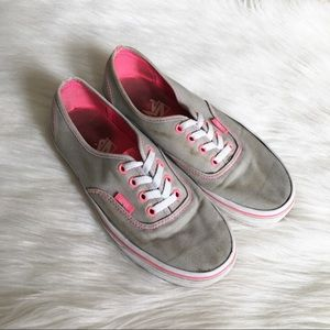 Vans Pink and Gray Low Canvas Sneakers Size: 7